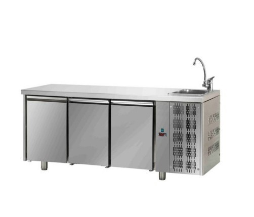 TF03MIDGNL C31C22C - Hladni radni sto sa 3 vrata i elementom za pranje ruke
